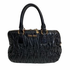 Miu Miu Black Matalasse Leather Handbag